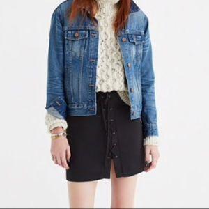 Madewell lace up mini skirt